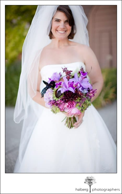 portrait of bride in front of church