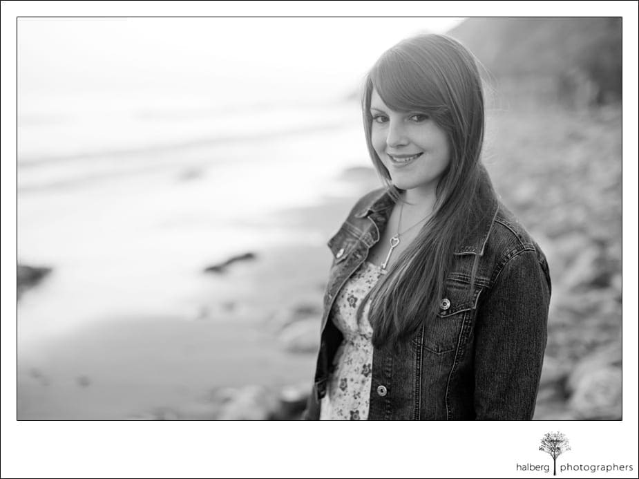 senior portrait of girl at beach