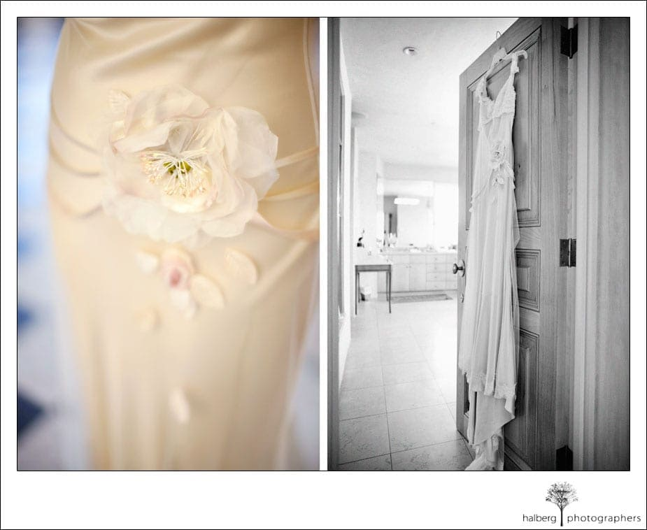 santa barbara wedding dress hanging on door and detail of flower