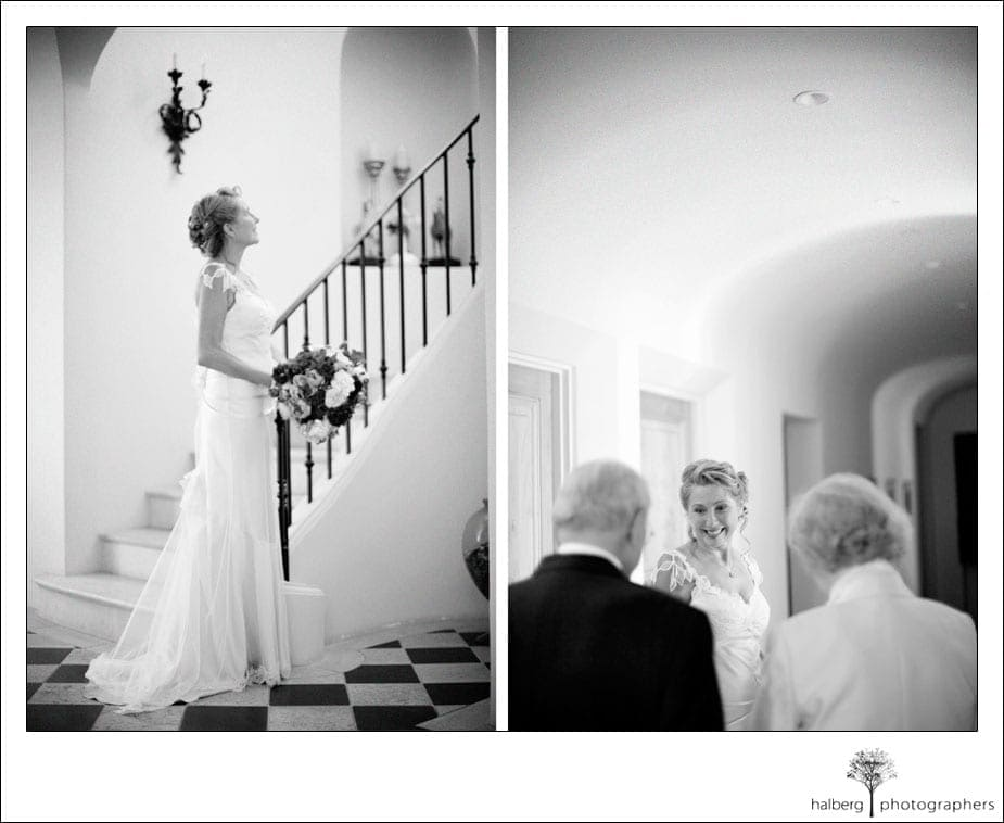 bride waiting at bottom of stairs for her santa barbara wedding