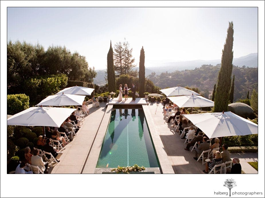 santa barbara wedding ceremony with view of coast