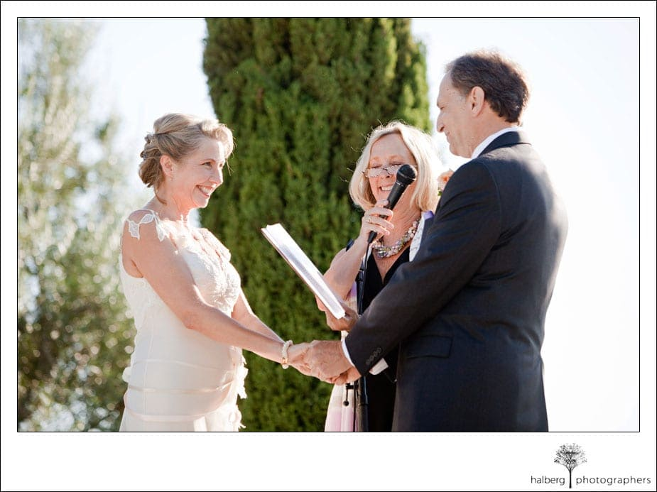 groom reading vows to bride at their santa barbara wedding