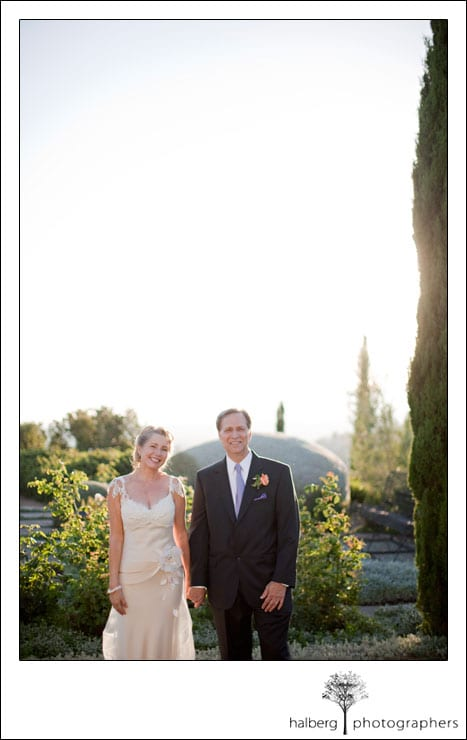 santa barbara wedding photo of bride and groom standing holding hands