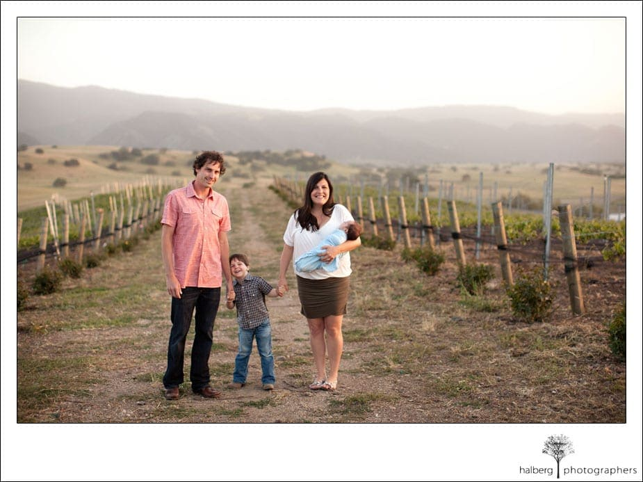 santa ynez portrait of family in vineyard