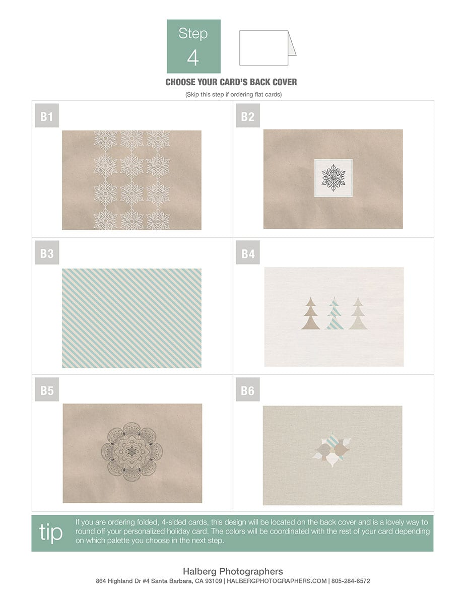 choose the back of your family portrait photography custom holiday cards