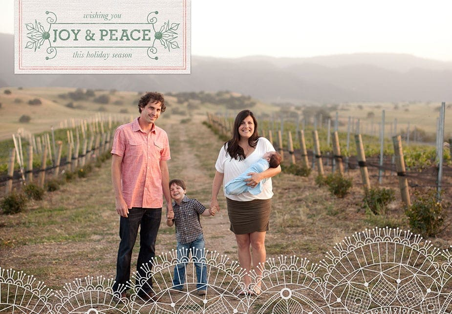custom holiday card cover for santa barbara family portrait photography