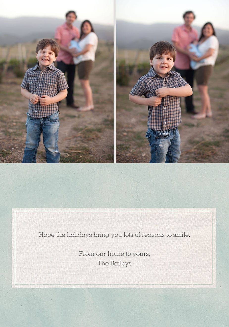 inside of family portrait photography custom holidy card in santa barbara