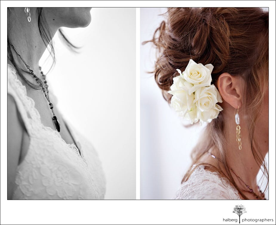 brides wedding necklace and flower in hair at her wedding at the valley club of montecito