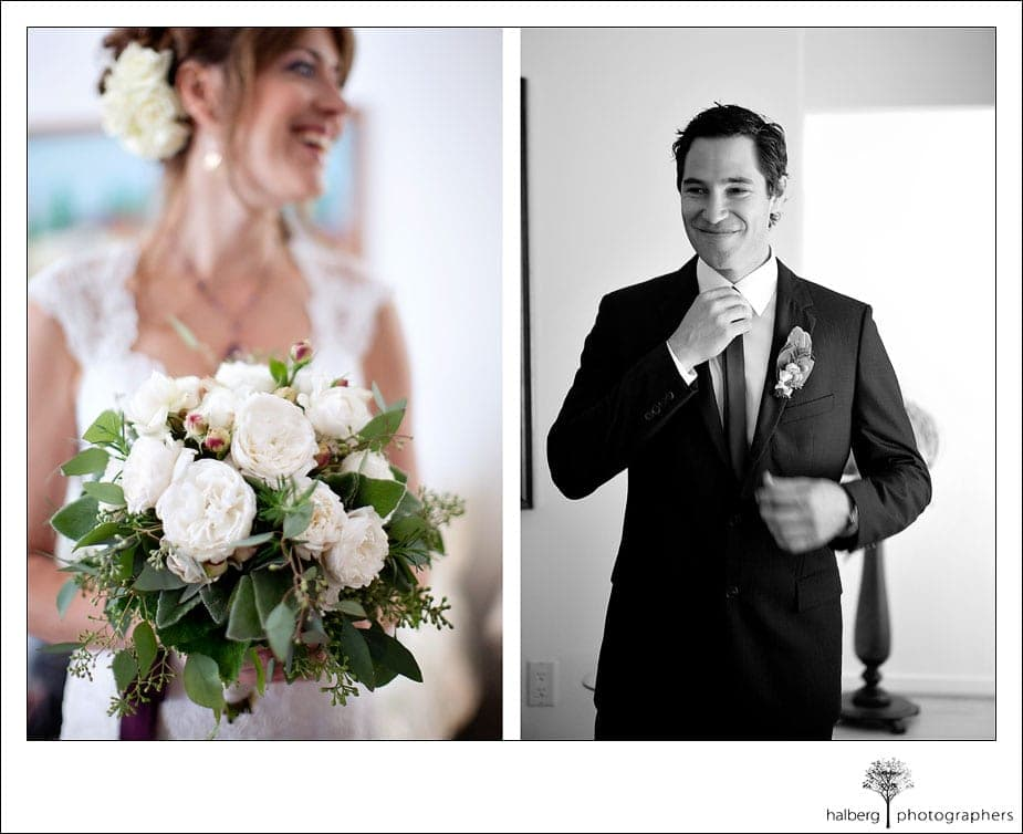 bride and groom getting ready for their wedding at the valley club of montecito