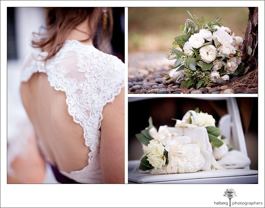 details of back of bride's wedding dress, flowers and purses in montecito