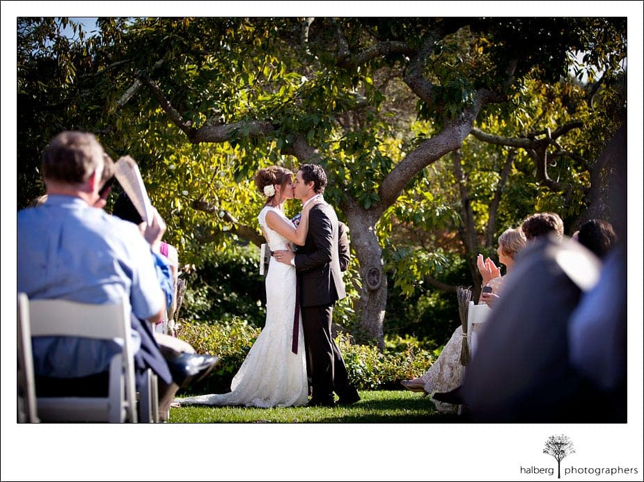 bride and groom kiss at montecito wedding