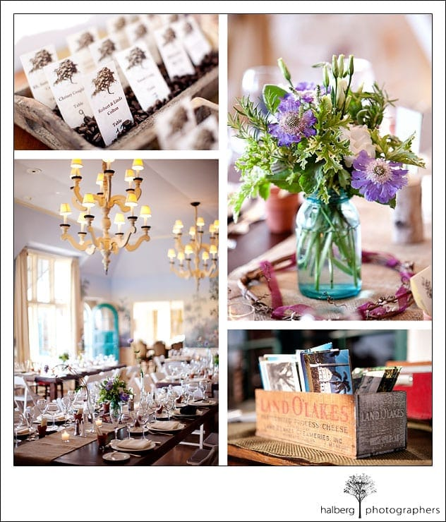 vintage details at wedding reception at valley club of montecito