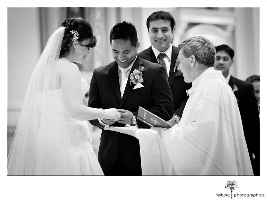 exchanging of rings at ranch golf club san jose wedding