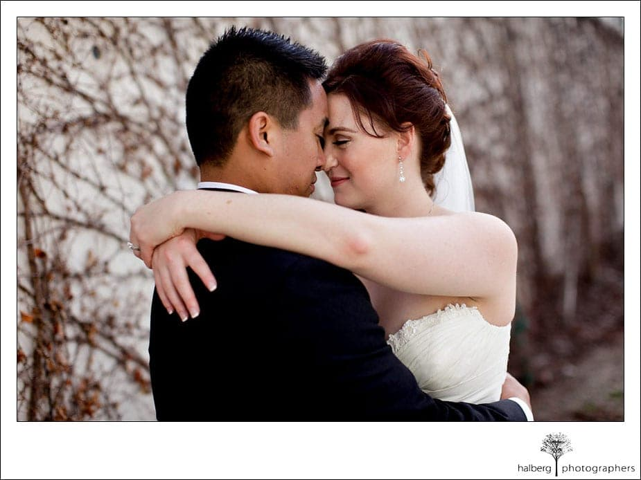 san jose bride and groom embrace after ranch golf club wedding