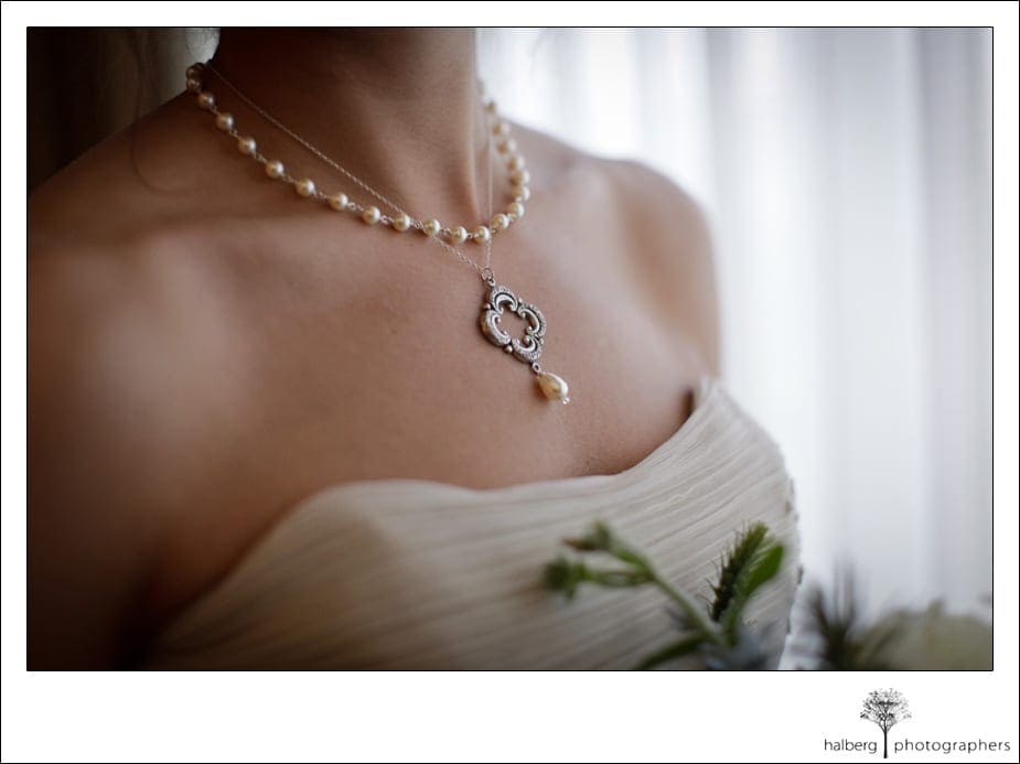 bride's vintage necklace at her destination wedding in florida