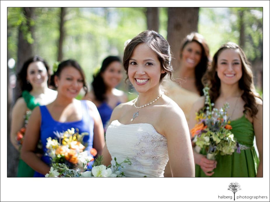 bride with bridesmaids at her destination wedding in florida