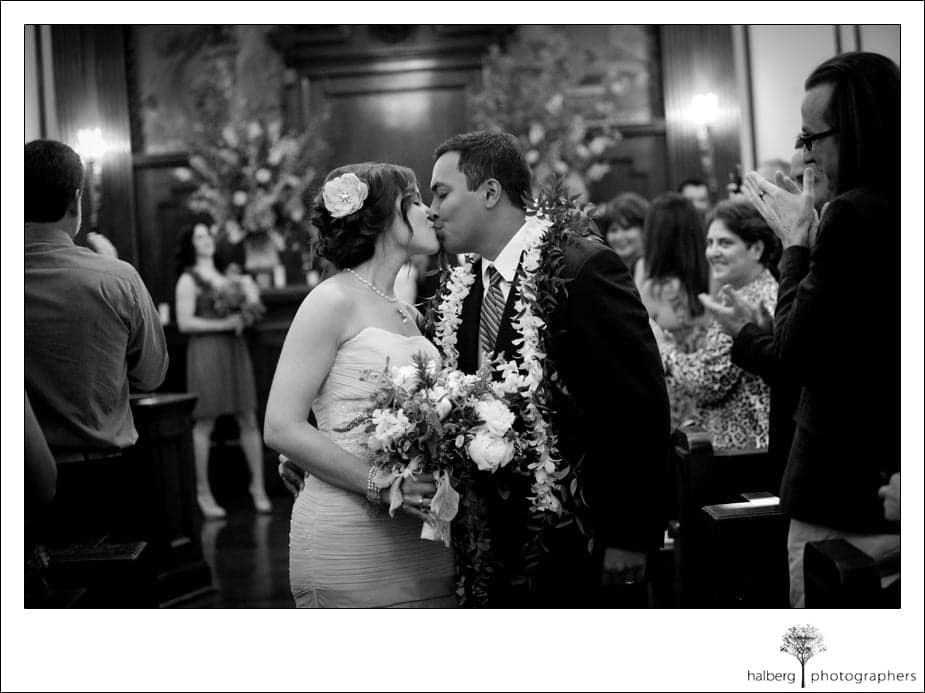 bride and groom kiss at their destination wedding
