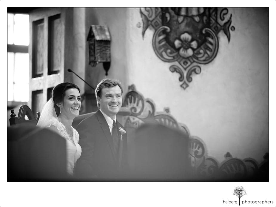 bride and groom sitting together durring wedding ceremony