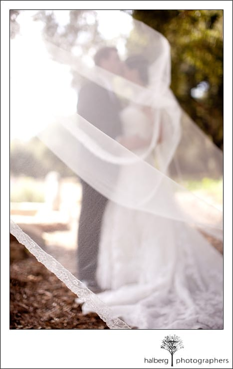 Heartstone Ranch Wedding couple kissing beneath veil