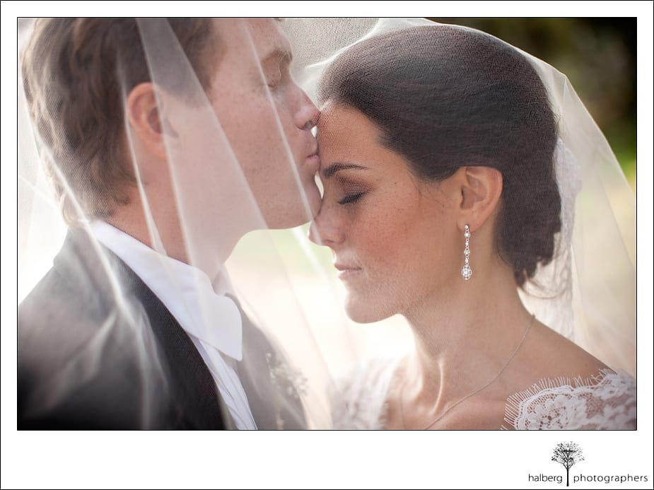 groom kisses brides forehead under veil at their Heartstone Ranch Wedding