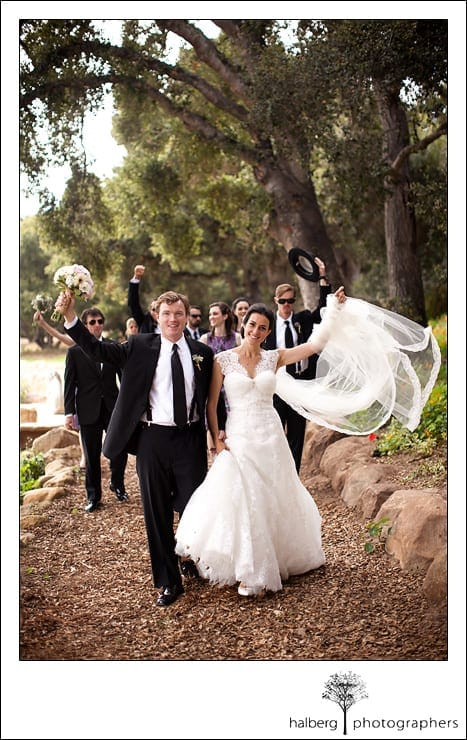bridal party walking down pathway at their Heartstone Ranch Wedding