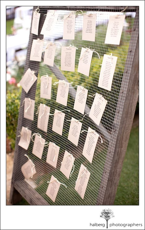 escort cards at a Heartstone Ranch Wedding