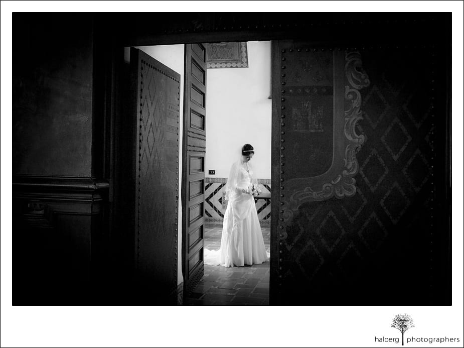 santa barbara courthouse bride waiting outside mural room