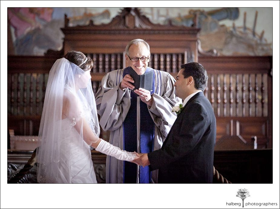bride and groom saying vows at their santa barbara courthouse wedding
