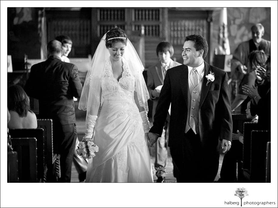 bride and groom recessional at their santa barbara courthouse wedding