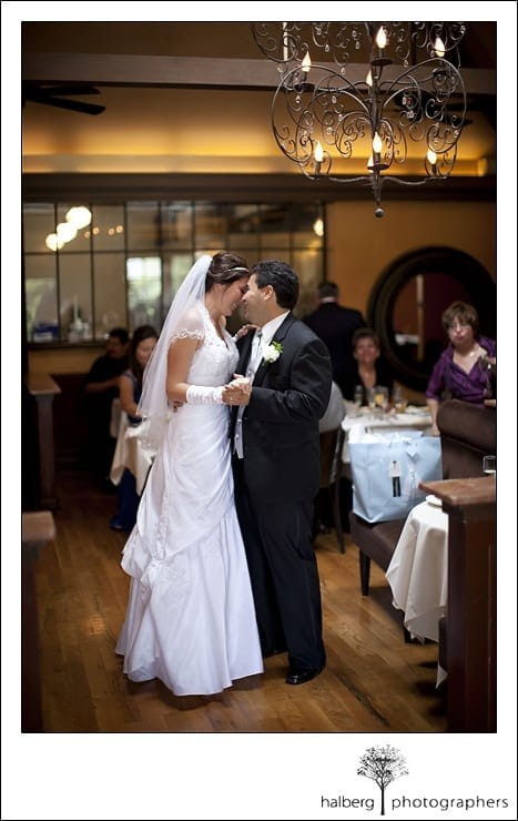 bride and groom first dance after their santa barbara courthouse wedding