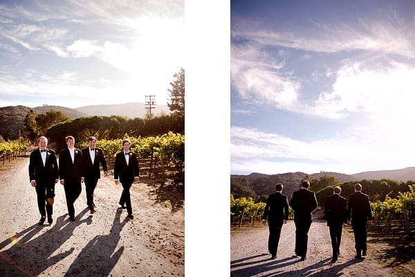 groomsmen in the vineyards at Chateau Julien