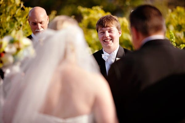 Tyler gives Kari a smile at their wedding