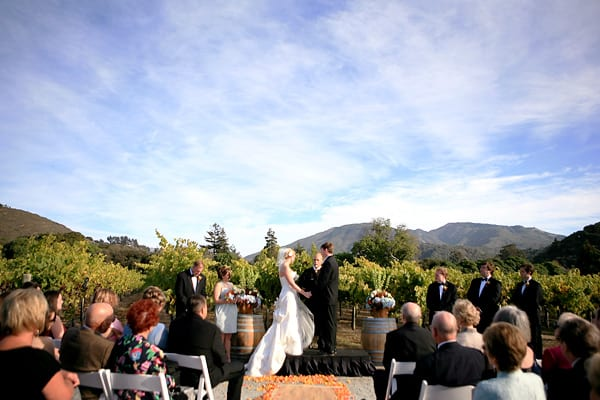 Beautiful vineyard backdrop to a Carmel Valley wedding