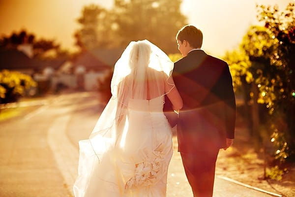 beautiful Carmel valley backlit wedding photo