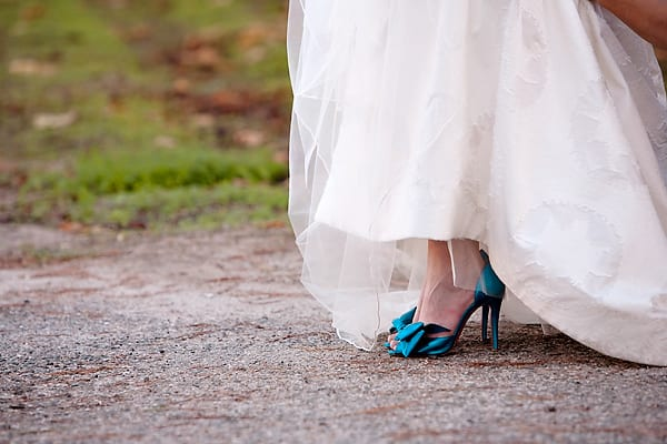 blue wedding shoes at Chateau Julien