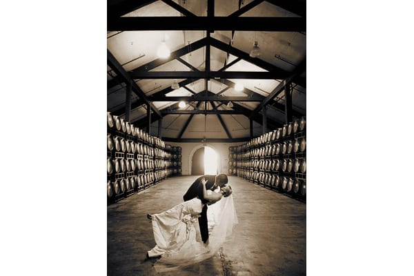Barrel room at Chateau Julien Winery wedding