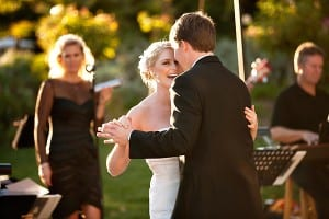 Tyler and Kari's first dance at Chateau Julien Winery wedding