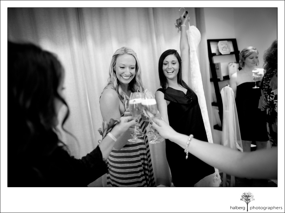 napa vineyard bride toasting bridesmaids before wedding