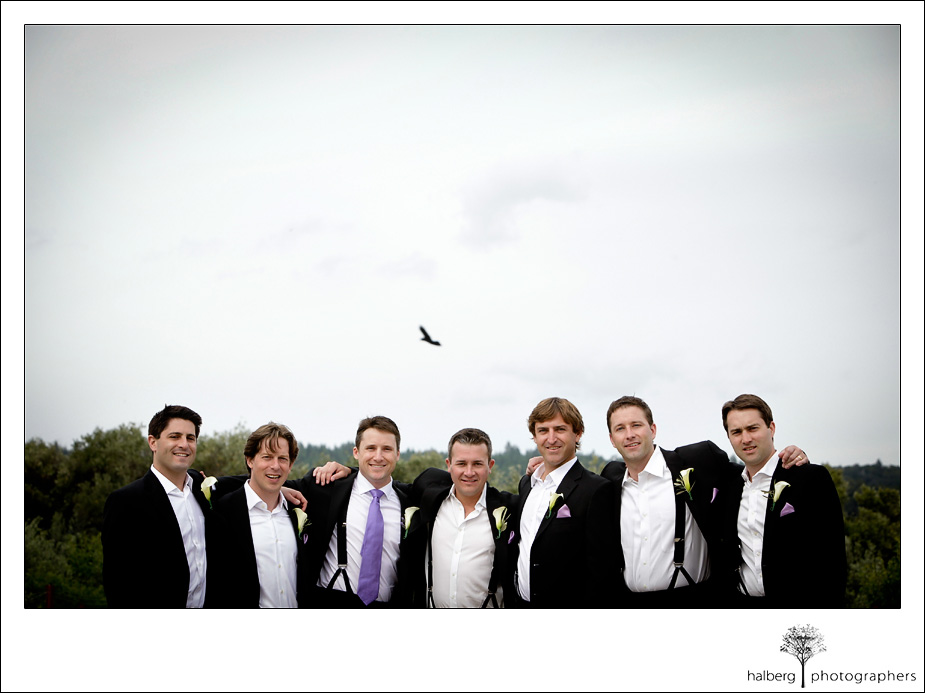 napa vineyard groom with groomsmen and bird in background