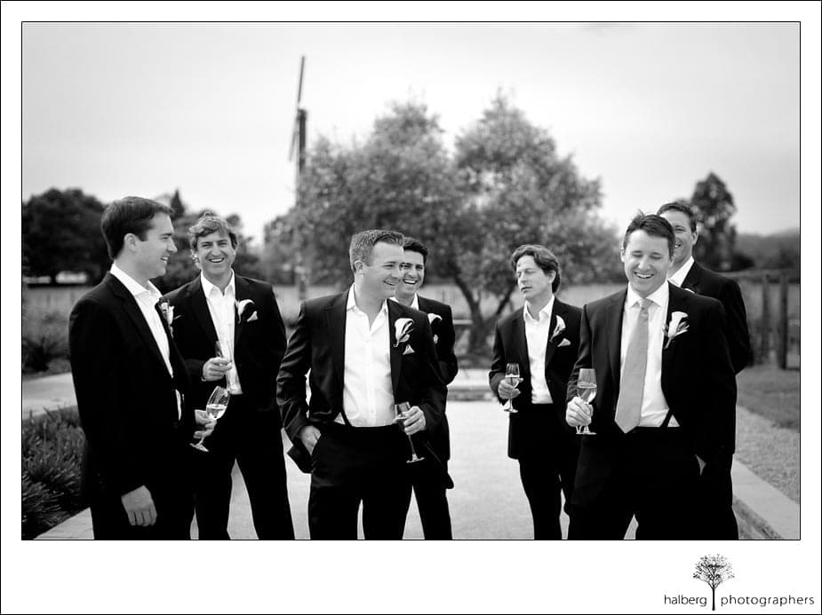 groom hanging out with groomsmen before his napa vineyard wedding