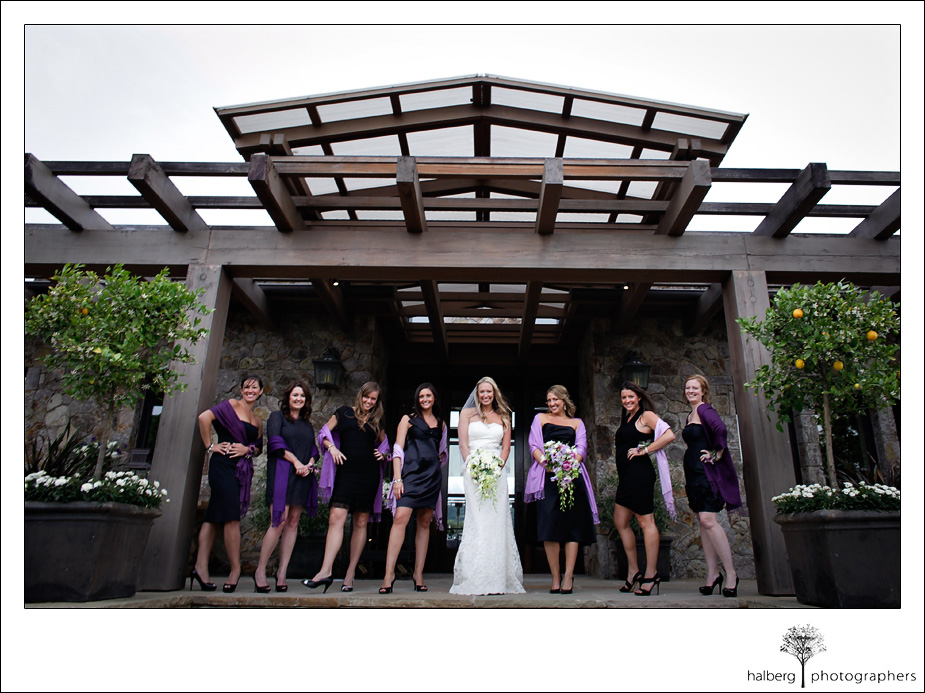 bride standing with bridesmaids in front of napa vineyard wedding location