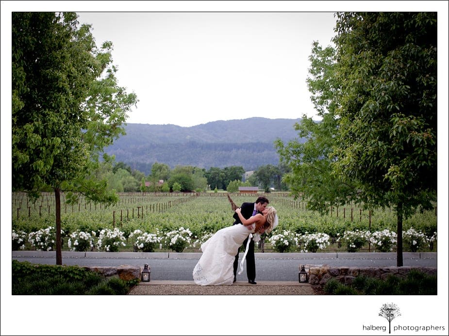 groom kissing bride after wedding while he dips her in front of a napa vineyard