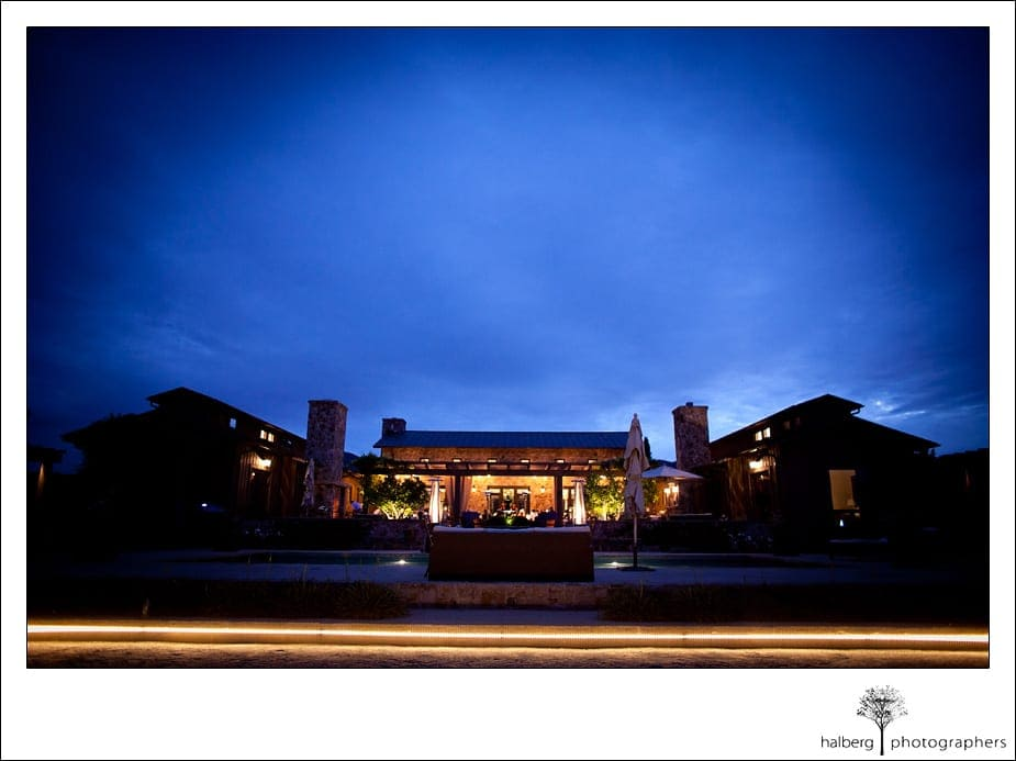 private home with a Napa Vineyard Wedding at dusk