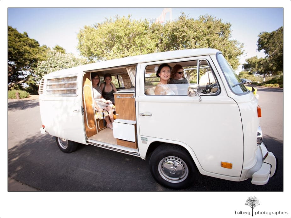 bride arrives at her Elings Park wedding in old fashion volkswagen bus