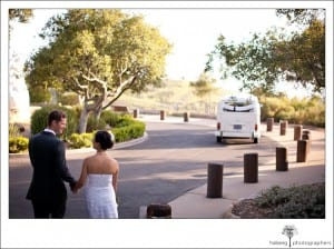bride and groom walking to their volkswagen buss after their Elings Park Wedding