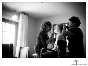 Bride getting hair and make up done for her wedding at Hotel Corque