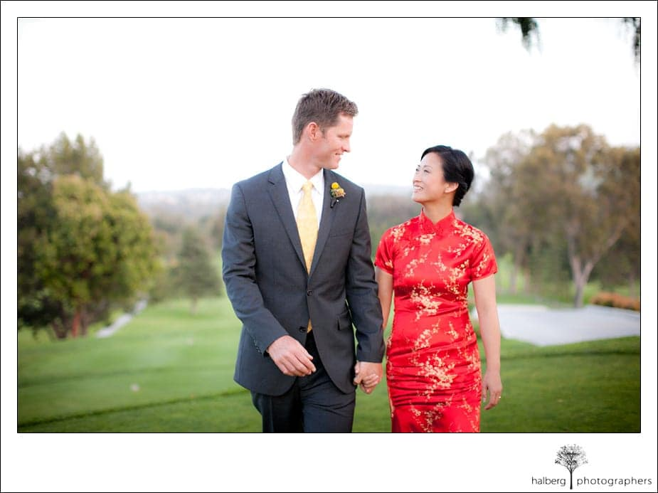 wedding couple walking at La Cumbre Country Club