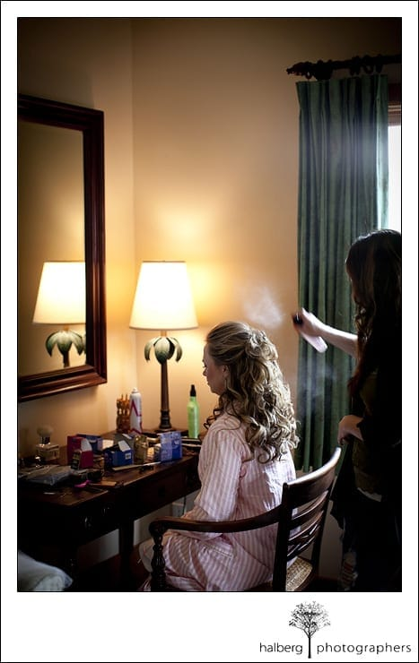 bride getting hair done prior to her Nicholson Ranch Wedding