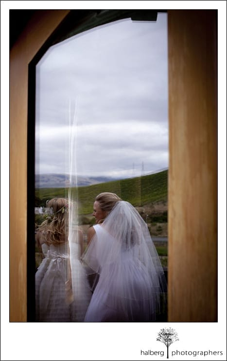 bride with soon to be daughter before her Nicholson Ranch Wedding