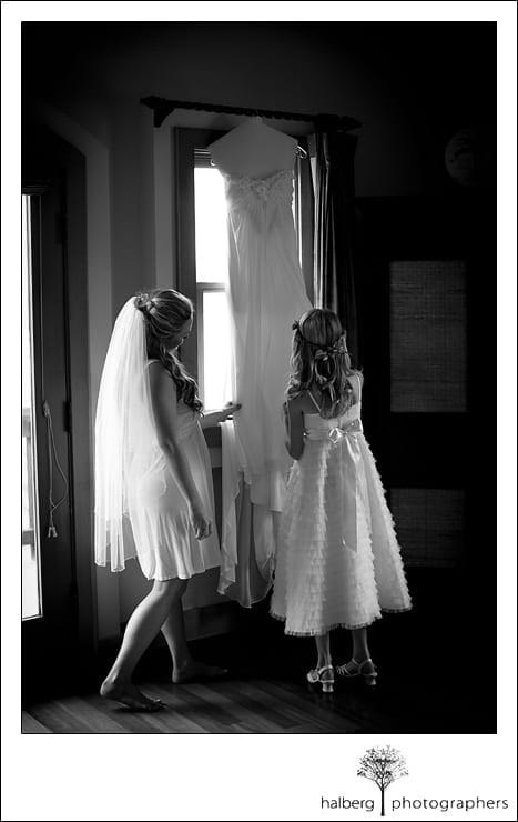 bride with daughter-to-be looking at wedding dress at Nicholson Ranch